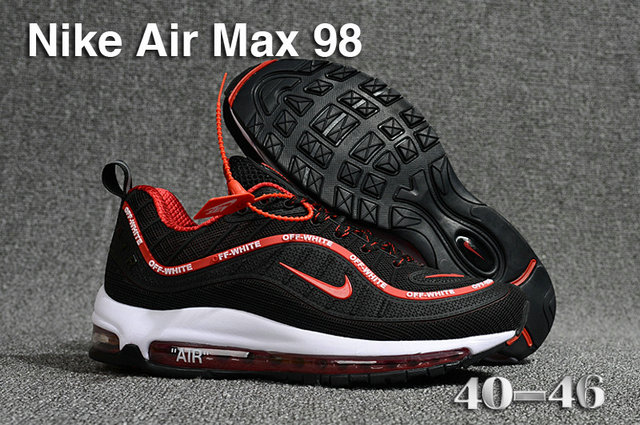 2018 Nike Air Max 98 QS Black Red White Cheapest Wholesale Sale - www.wholesaleflyknit.com