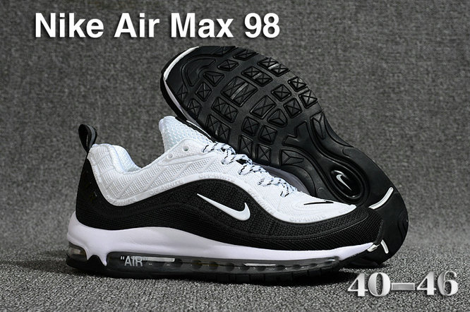 2018 Nike Air Max 98 QS Black White Cheapest Wholesale Sale - www.wholesaleflyknit.com