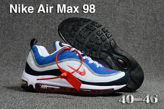 2018 Nike Air Max 98 QS Blue Black White Red Cheapest Wholesale Sale - www.wholesaleflyknit.com