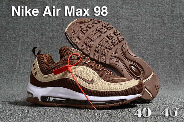 2018 Nike Air Max 98 QS Cream Brown Cheapest Wholesale Sale - www.wholesaleflyknit.com