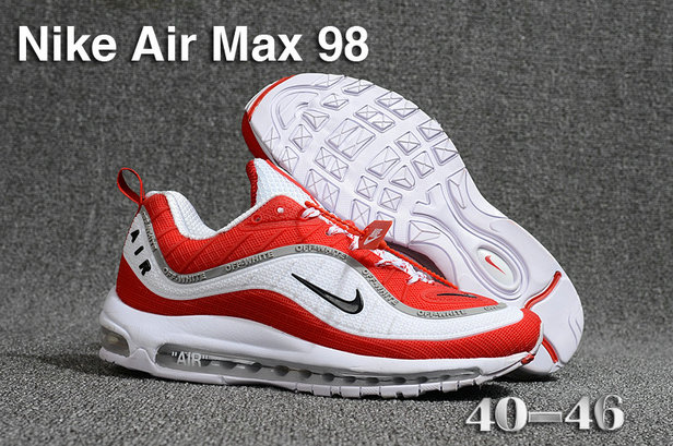 2018 Nike Air Max 98 QS Fire Red Black White Cheapest Wholesale Sale - www.wholesaleflyknit.com