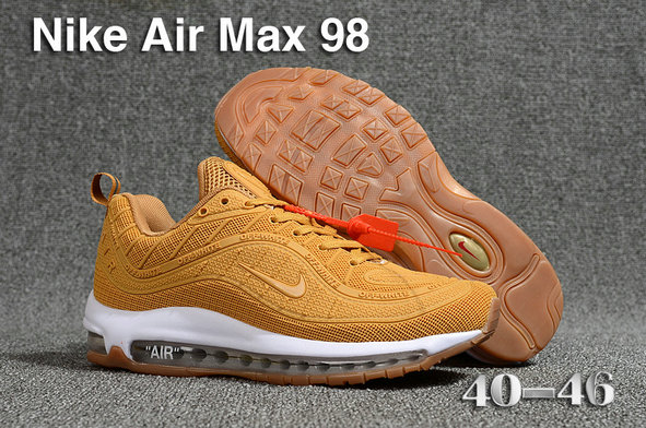2018 Nike Air Max 98 QS Gold White Cheapest Wholesale Sale - www.wholesaleflyknit.com