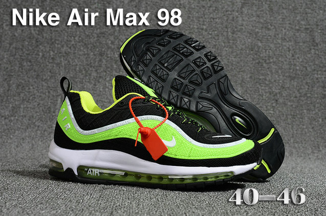 2018 Nike Air Max 98 QS Green Black White Cheapest Wholesale Sale - www.wholesaleflyknit.com
