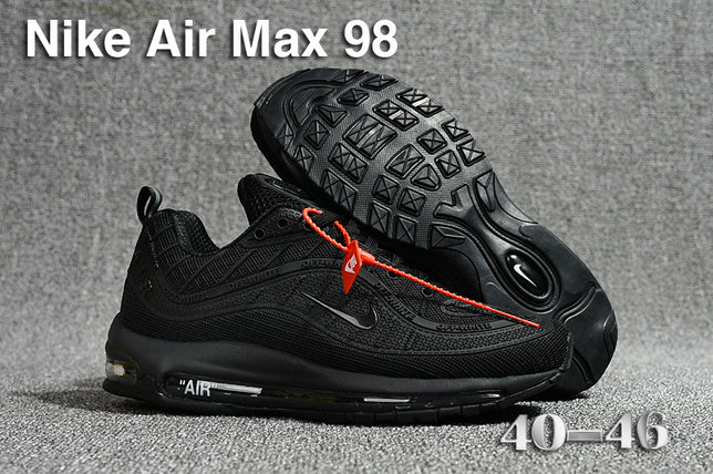 2018 Nike Air Max 98 QS Triple Black Cheapest Wholesale Sale - www.wholesaleflyknit.com