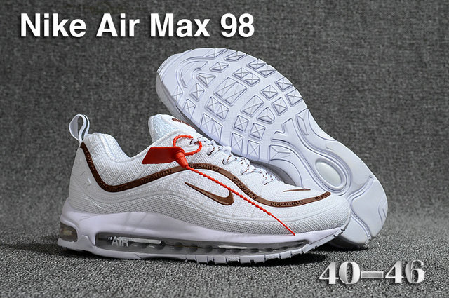 2018 Nike Air Max 98 QS White Brown Cheapest Wholesale Sale - www.wholesaleflyknit.com