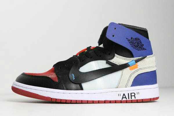 Cheap Wholesale 2018 Off-White x Air Jordan 1 Black White Varsity Royal-Varsity Red Shoes - www.wholesaleflyknit.com