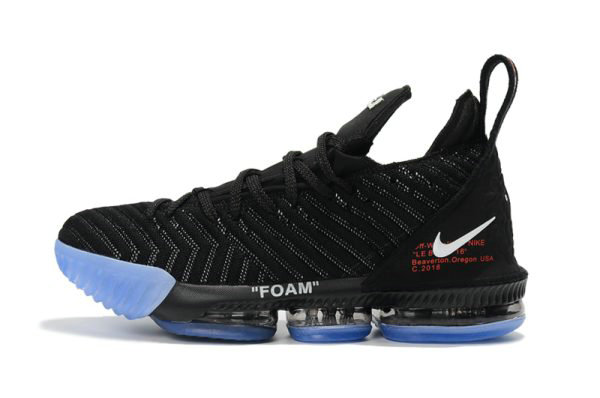Cheap Wholesale 2018 Off-White x Nike LeBron 16 Black Basketball Shoes For Sale - www.wholesaleflyknit.com