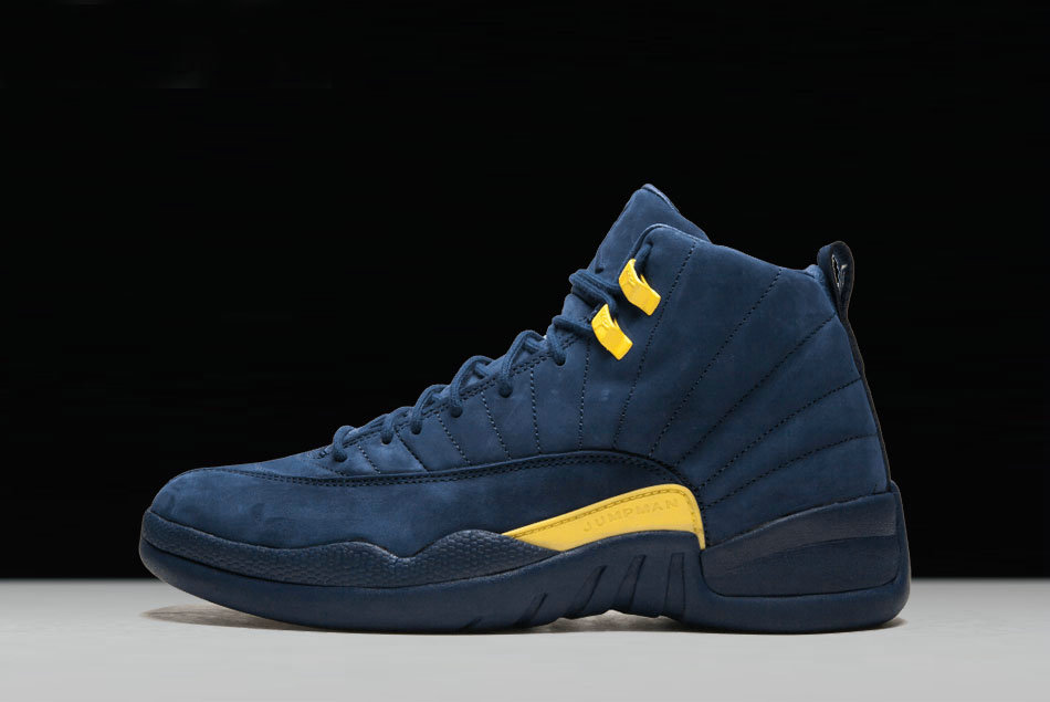 f073c6f922596b Cheap Wholesale 2018 PSNY x Air Jordan 12 Michigan PE College Navy Amarillo  For Sale -