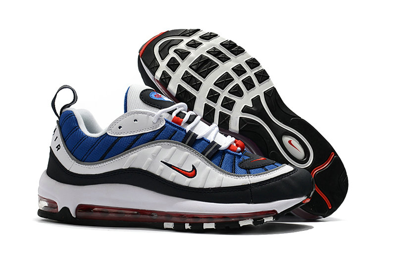 2018 Womens Nike Air Max 98 Colorways Blue Red White Black Cheapest Wholesale Sale - www.wholesaleflyknit.com