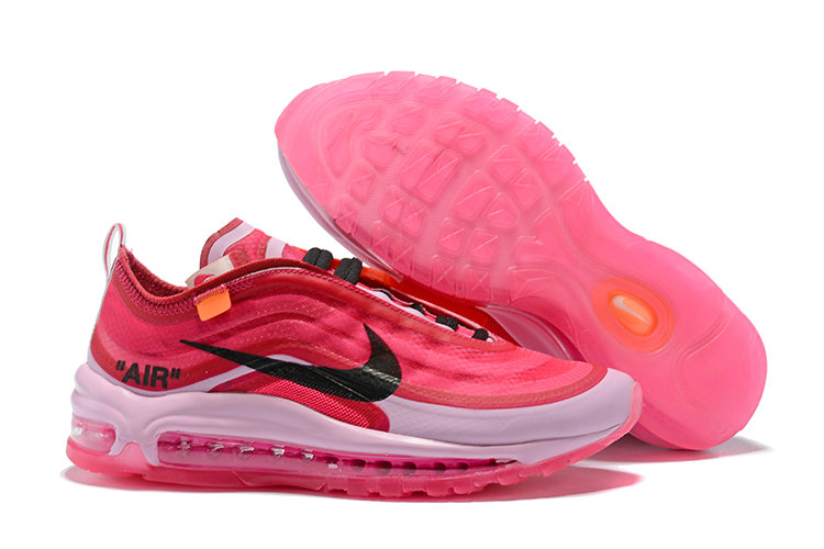 2018 Womens Nike OFF-WHITE Air Max 97 SneakerBoots Pink Red White Black Cheapest Wholesale Sale - www.wholesaleflyknit.com