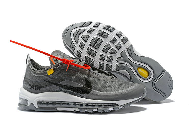 2018 Womens Nike OFF-WHITE Air Max 97 SneakerBoots Wolf Grey Black Cheapest Wholesale Sale - www.wholesaleflyknit.com