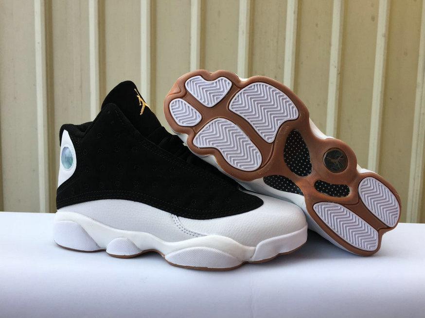 2018 Cheapest Wholesale Sale Nike Air Jordan 13 (XIII) Black White Gold For Mens - www.wholesaleflyknit.com