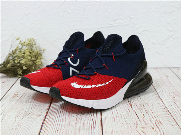 2018 Cheapest Wholesale Sale Nike Air Maxs 270 Flyknit Mens Fire Red Navy Blue White - www.wholesaleflyknit.com