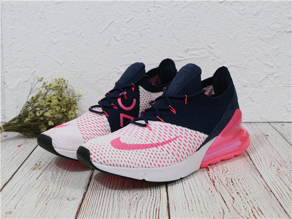 2018 Cheapest Wholesale Sale Nike Air Maxs 270 Flyknit Mens Pink White Navy Blue - www.wholesaleflyknit.com