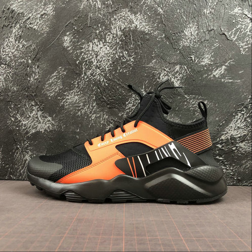 2019 Wholesale Cheap NIKE AIR HUARACHE RUN ULTRA Black Orange Noir Orange 819685-058 - www.wholesaleflyknit.com