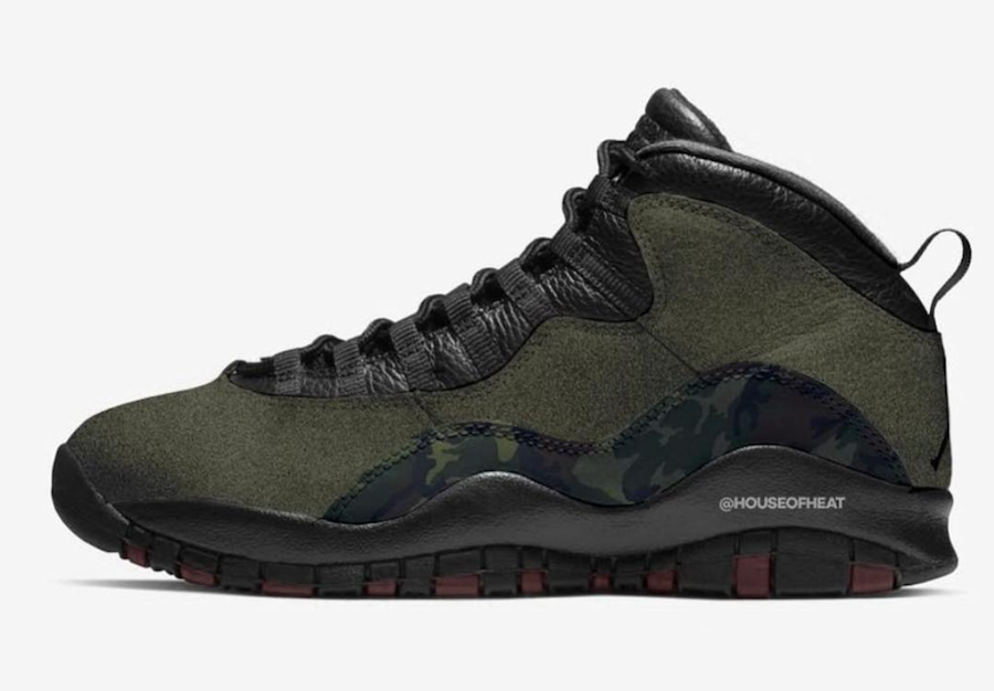 2019 Cheapest Wholesale Nike Air Jordan 10 Woodland Camo Medium Olive Black-Dark Army-Dark Cinder 310805-201 - www.wholesaleflyknit.com