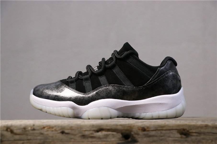 2019 Wholesale Cheap Nike Air Jordan 11 Low Barons Black White Noir Blanc 528895-010 - www.wholesaleflyknit.com