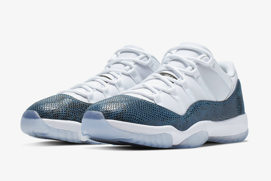2019 Wholesale Cheap Nike Air Jordan 11 Low Snakeskin White Black-Navy CD6846-102 - www.wholesaleflyknit.com