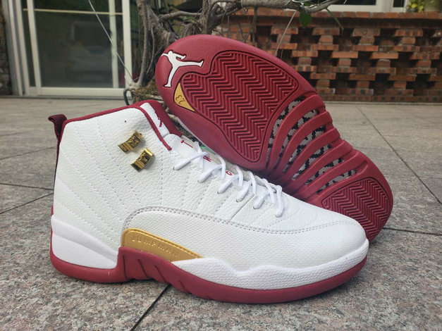 2019 Wholesale Cheap Nike Air Jordan 12 Wine Red White Gold - www.wholesaleflyknit.com