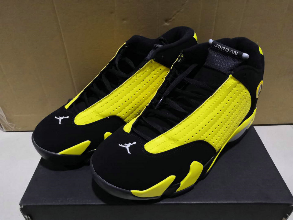 2019 Wholesale Cheap Nike Air Jordan 14 Retro Thunder Black Vibrant Yellow-White 487471 070 - www.wholesaleflyknit.com