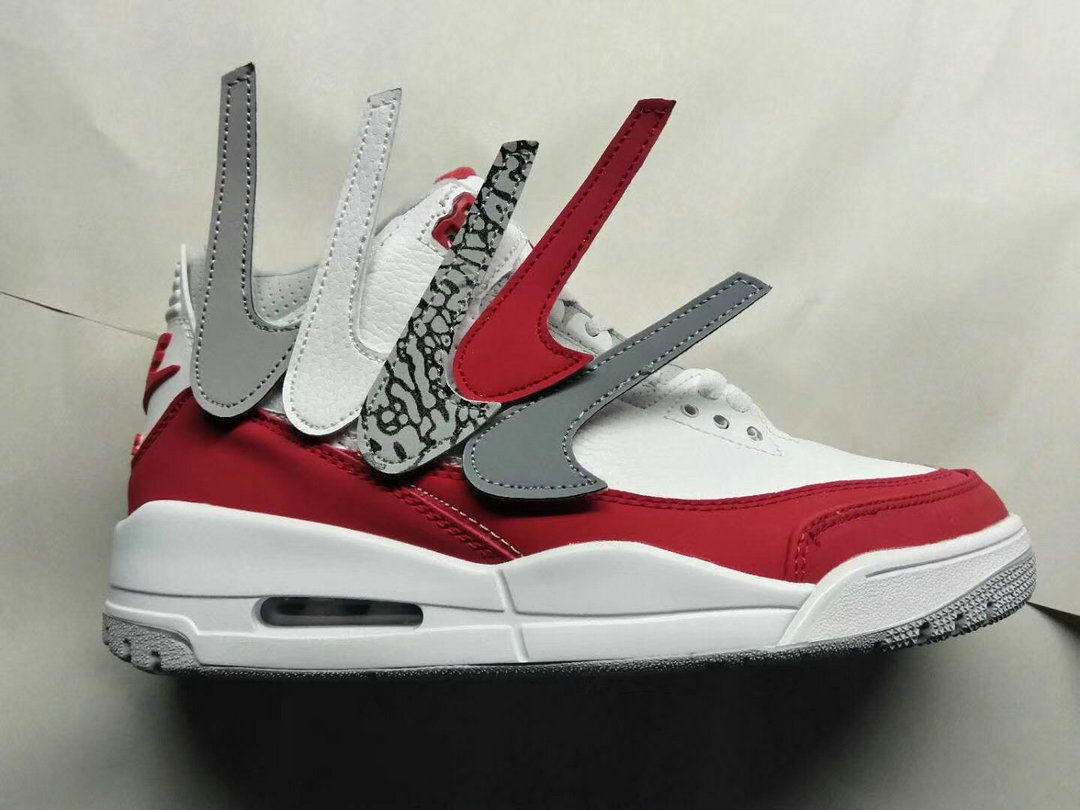 2019 Cheapest Wholesale Nike Air Jordan 3 University Red White Grey Blanc Noir - www.wholesaleflyknit.com