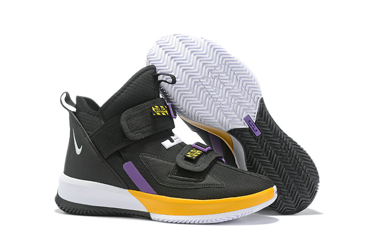 2019 Wholesale Cheap Nike Air Zoon Lebron Soldier 13 XIII Black Yellow Purple White - www.wholesaleflyknit.com