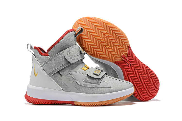 2019 Wholesale Cheap Nike Air Zoon Lebron Soldier 13 XIII Grey Gold Red White - www.wholesaleflyknit.com