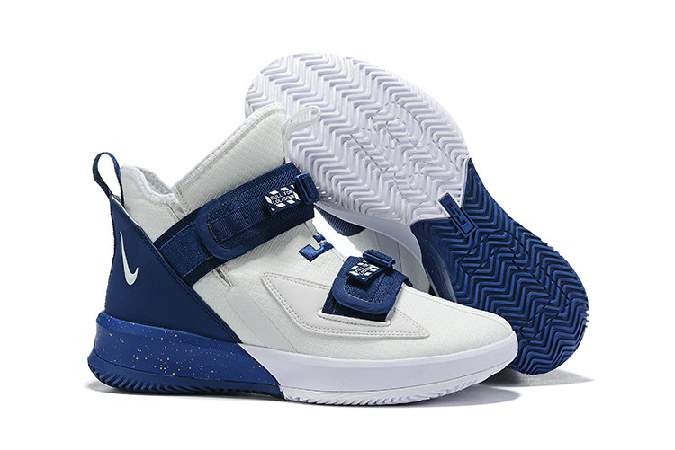 2019 Wholesale Cheap Nike Air Zoon Lebron Soldier 13 XIII White Navy Blue - www.wholesaleflyknit.com