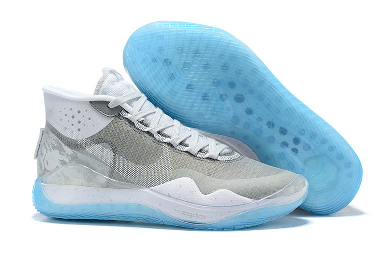 2019 Wholesale Cheap Nike KD 12 Grey White Laker Blue - www.wholesaleflyknit.com