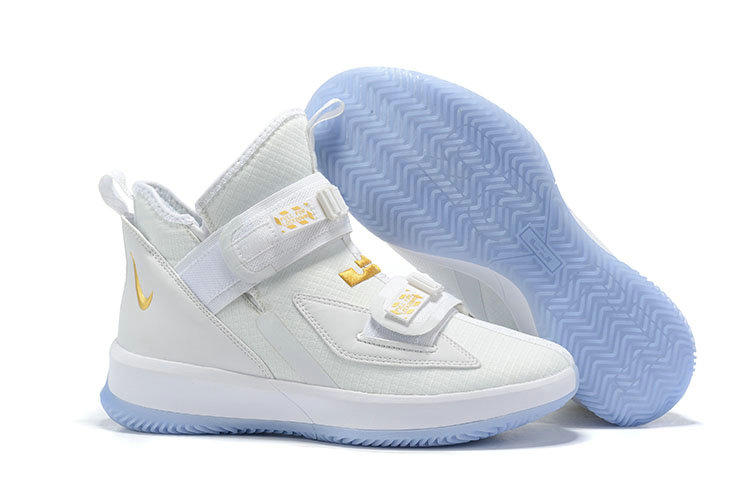 2019 Wholesale Cheap Nike LeBron Soldier 13 Court General White and Metallic Gold - www.wholesaleflyknit.com