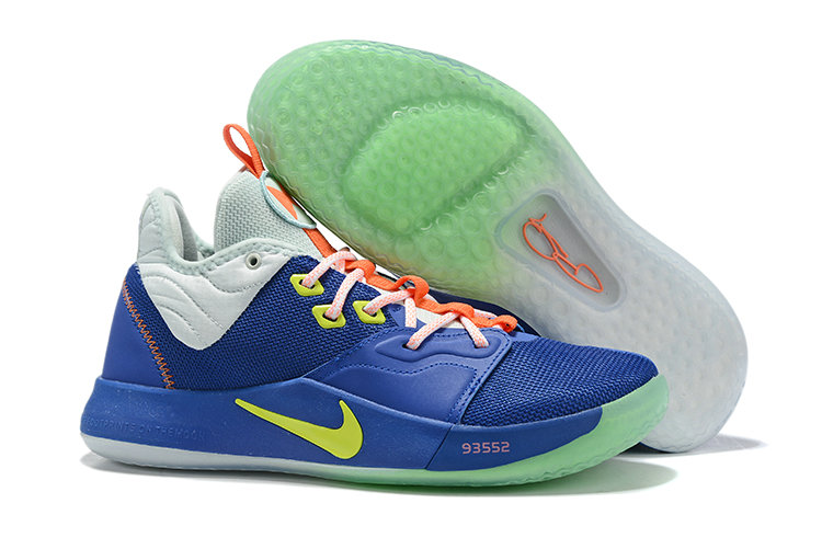 2019 Wholesale Cheap Nike PG 3 Royal Blue Cool Grey-Volt For Sale - www.wholesaleflyknit.com