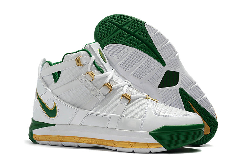 2019 Wholesale Cheap Nike Zoom LeBron 3 QS SVSM Home White-Deep Forest-Gold Dust AO2434-102 - www.wholesaleflyknit.com