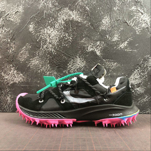 2019 Wholesale Cheap Off-White x Nike Zoom Terra Kiger 5 Black Metallic Silver White Pink Blast Noir Argmet CD8179-001 - www.wholesaleflyknit.com