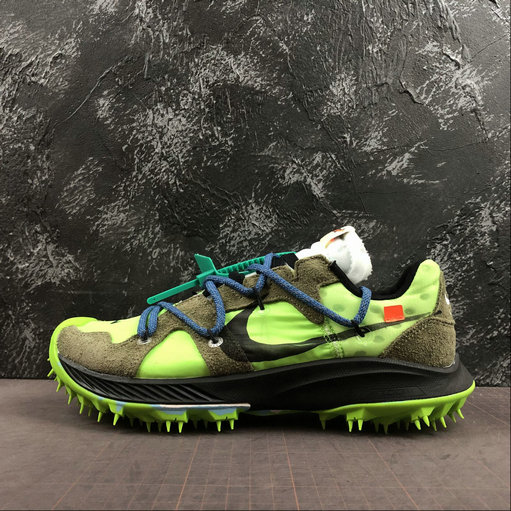 2019 Wholesale Cheap Off-White x Nike Zoom Terra Kiger 5 Electric Green Metallic Silver Vert Electrique CD8179-100 - www.wholesaleflyknit.com