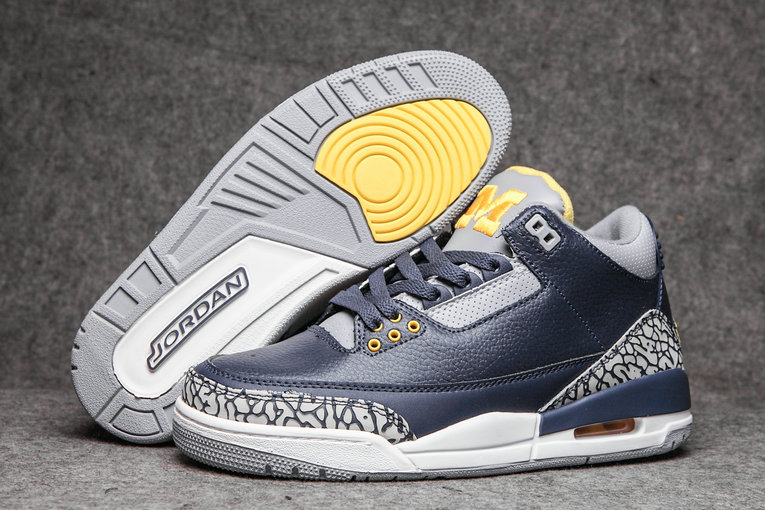 2019 Restock Cheapest Wholesale Nike Air Jordan 3 Navy Blue Grey White - www.wholesaleflyknit.com
