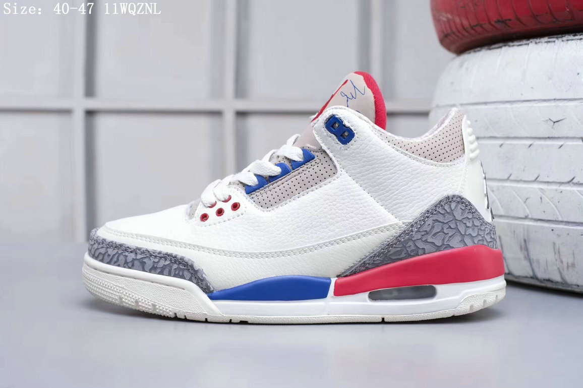 2019 Restock Cheapest Wholesale Nike Air Jordan 3 White Blue Pink Grey - www.wholesaleflyknit.com