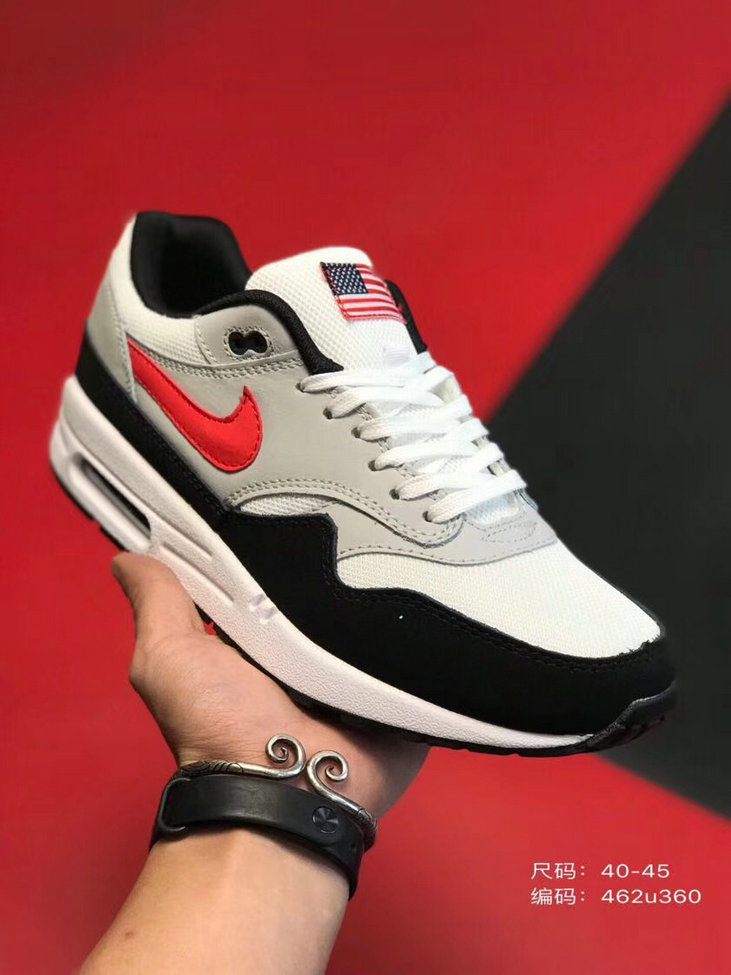 2019 Where To Buy Cheap Wholesale Nike Air Max 1 87 Black Grey Red White - www.wholesaleflyknit.com