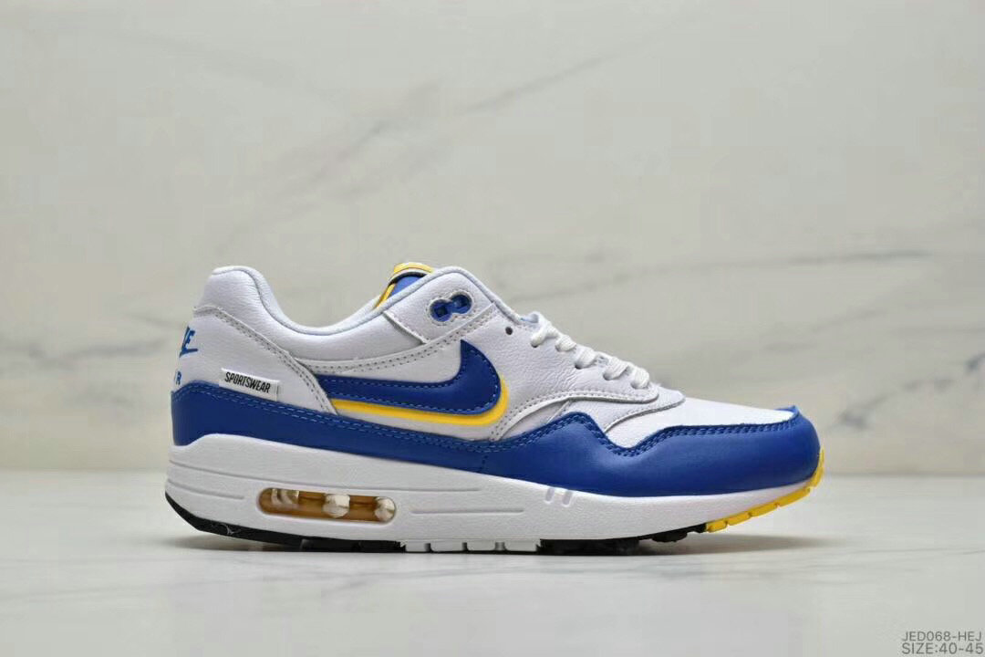 2019 Where To Buy Cheap Wholesale Nike Air Max 1 87 Blue Yellow White - www.wholesaleflyknit.com
