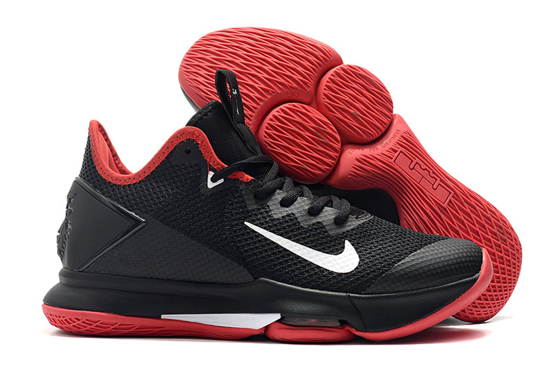 2019 Where To Buy Cheap Wholesale Nike LeBron Witness 4 Black Red White - www.wholesaleflyknit.com