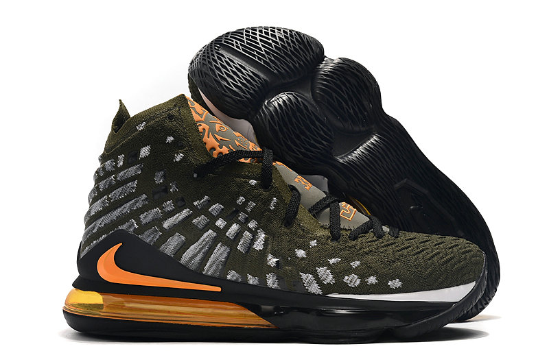 2019 Where To Buy Cheap Wholesale Nike Lebron 17 Army Green Grey Black Total Orange - www.wholesaleflyknit.com