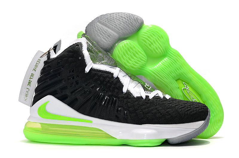 2019 Where To Buy Cheap Wholesale Nike Lebron 17 Black White Grass Green - www.wholesaleflyknit.com