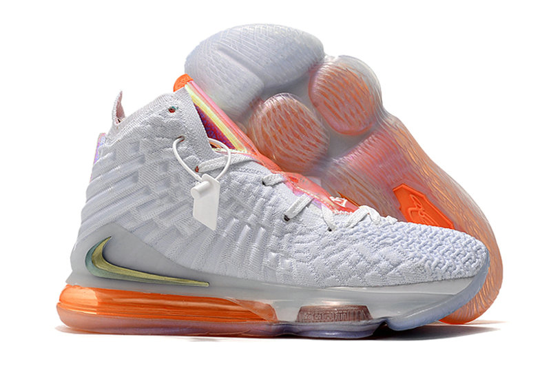 2019 Where To Buy Cheap Wholesale Nike Lebron 17 White Orange Gold - www.wholesaleflyknit.com