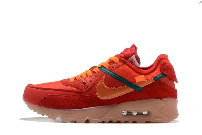 2019 Where To Buy Cheap Wholesale Off White X Nike Air Max 90 Red Orange OW AA7293-600 - www.wholesaleflyknit.com