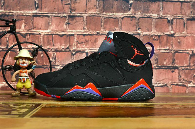 2020 Cheap Wholesale Nike Air Jordan 7 Retro Black Team red Dark Charcoal Club Purple 304775-018 - www.wholesaleflyknit.com