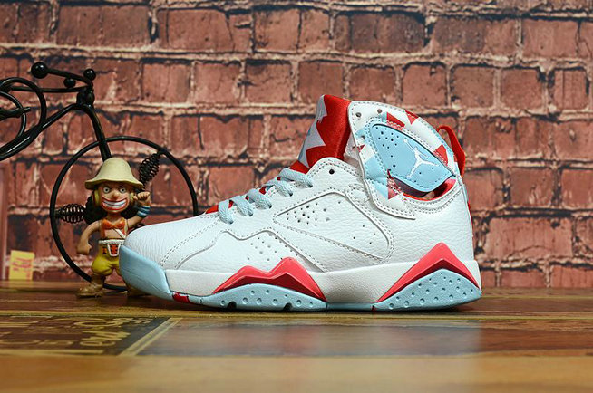 2020 Cheap Wholesale Nike Air Jordan 7 Retro White Red Light Blue - www.wholesaleflyknit.com