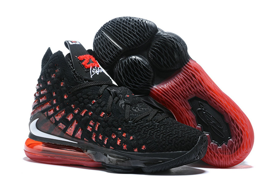 2020 Cheap Wholesale Nike LeBron 17 Infrared Black White-University Red - www.wholesaleflyknit.com