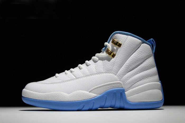 Where To Buy 2020 Mens and Womens Air Jordan 12 University Blue White Metallic Gold-University Blue 510815-127 - www.wholesaleflyknit.com