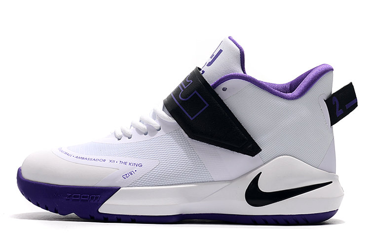 Where To Buy 2020 Nike LeBron Ambassador 12 White Black-Purple For Sale - www.wholesaleflyknit.com