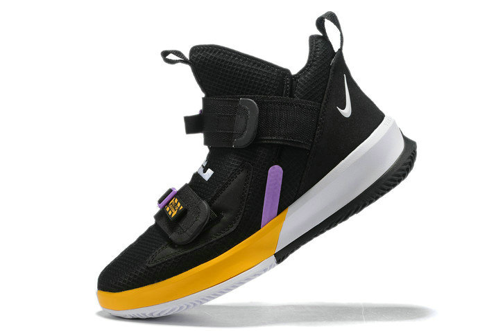 Where To Buy 2020 Nike LeBron Soldier 13 Lakers Black Purple-Gold-White For Sale - www.wholesaleflyknit.com