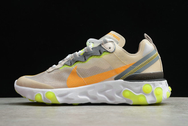 Where To Buy 2020 Nike React Element 87 Light Orewood Brown Volt Glow-Cool Grey-Laser Orange AQ1090-101 - www.wholesaleflyknit.com